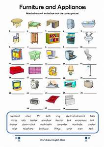 Home vocabulary english worksheets for Furniture found in the home