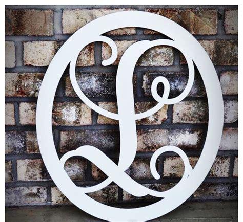 large monogram metal letter door wreath sign outdoor decor