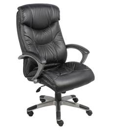 high back office chair in black leatherette buy at