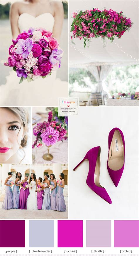 themes in the color purple shades of purple and fuchsia wedding colour theme