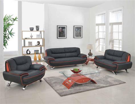 Amalfi Black With Red Orange Leather Living Room Las