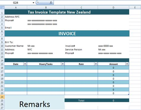 tax invoice template  zealand xls microsoft excel