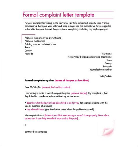 formal complaint letter templates  sample