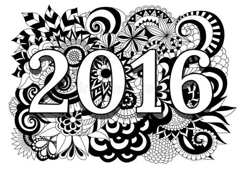 2016 op hoog gedetailleerde zentangle bloemen zwart witte achtergrond vector illustratie