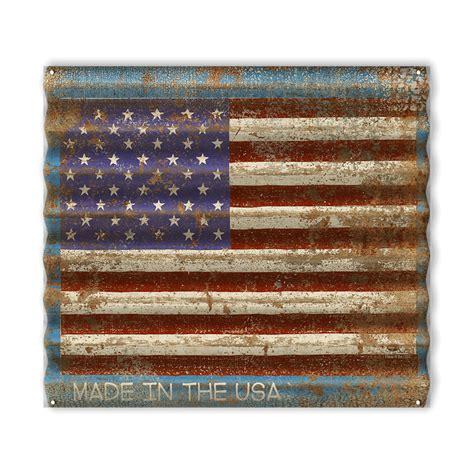 usa flag corrugated metal sign  wood signs