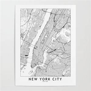 New York City White Map Poster By Multiplicity