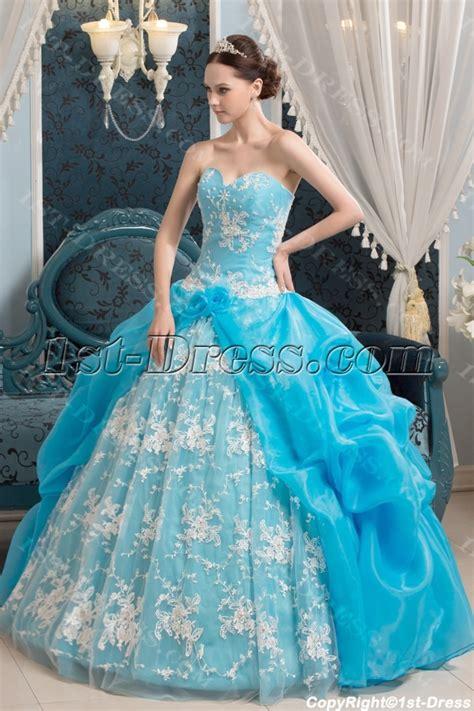 2014 aqua traditional vestidos de quinceanera 1st