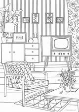 Room Living Adult Coloring Printable Retro Adults Etsy Favoreads Sheets Pages Designs Rooms Colouring продавец Interior Drawing Coloriage Colorear Name sketch template