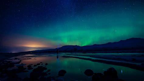 aurora borealis  markarfljotsgljufur canyon iceland