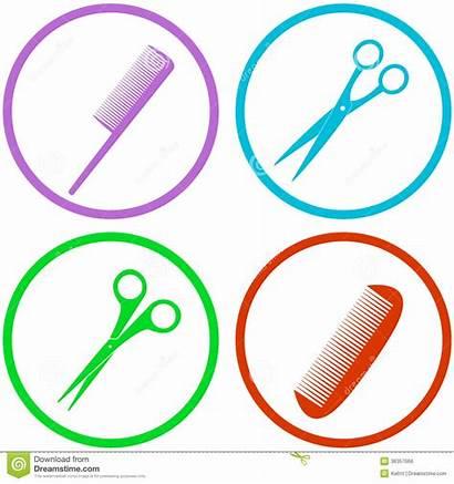 Salon Hair Tools Clipart Icon Hairdresser Scissors
