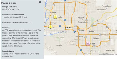 power steadily  restored  aps srp outages