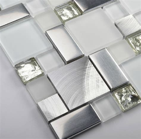 glass mosaic kitchen backsplash tile ssmt104 silver