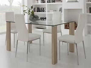 Pied De Table A Manger : table manger en verre avec pied bois longueur 150cm ~ Teatrodelosmanantiales.com Idées de Décoration