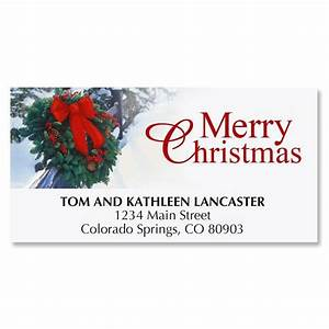 holiday wreath christmas address labels current catalog With current christmas labels