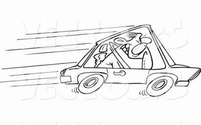 Speeding Cartoon Driver Coloring Outline Road Glenfield