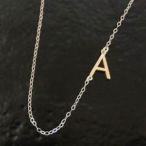 sideways initial necklace 14k solid gold your initial With sideways letter necklace gold