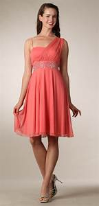 Coral Graduation Dress Short Knee Length Greek Style ...