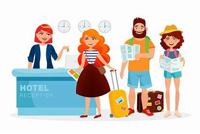 Hotel Check Cartoon Reception Receptionist Desk Guests