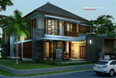 desain villa rumah tropis kolam renang home design
