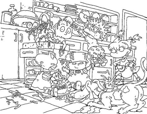 The Rugrats Make A Mess In The Kitchen Coloring Page