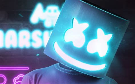 4k Resolution Neon Marshmello Wallpaper 3d by Descargar Fondos De Pantalla Dj Marshmello Azul