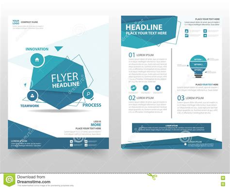 template design blue polygon vector brochure leaflet flyer template design book cover layout design abstract