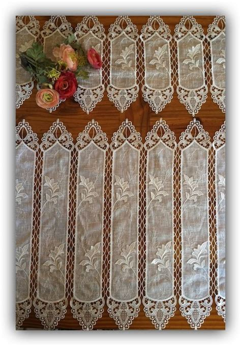 French cafe curtains   macrame ring lace   tiers valances