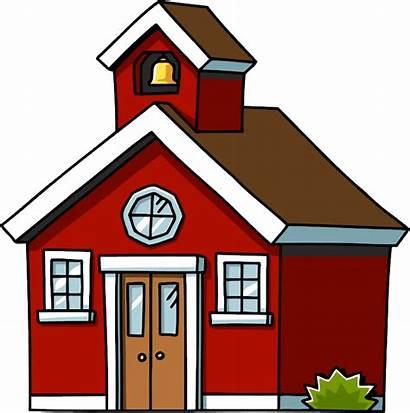 Clipart Schoolhouse Clip Cartoon Cliparts Houses Brick