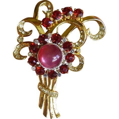 coro moonglow rhinestone flower brooch