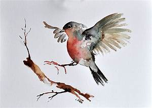 ORIGINAL Watercolor Bird Painting Flying Robin 6x8 inch