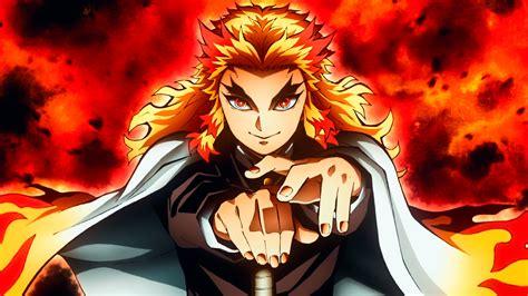 Demon Slayer Kyojuro Rengoku With Background Of Fire Hd