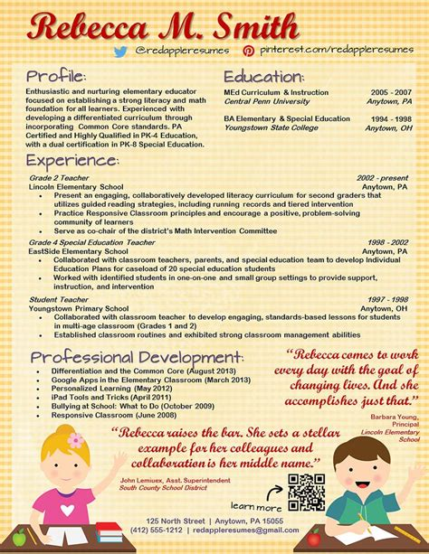 creative resume for teachers 46 best resumes images on