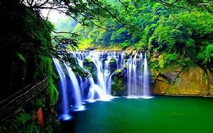 green waterfall wallpaper green tropical waterfall
