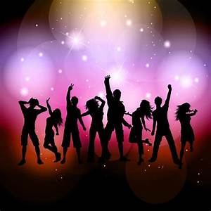 Silhouettes of people dancing on a bright background ...