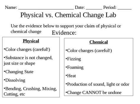 physical and chemical change worksheet them and