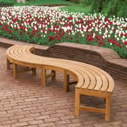 Backless Garden Benches by Teak Curved Bench Teak Backless Bench Curved Backless Teak