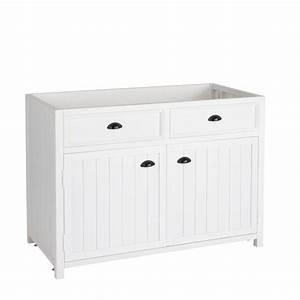meuble bas de cuisine en pin blanc l 120 cm newport With meuble cuisine 120 cm
