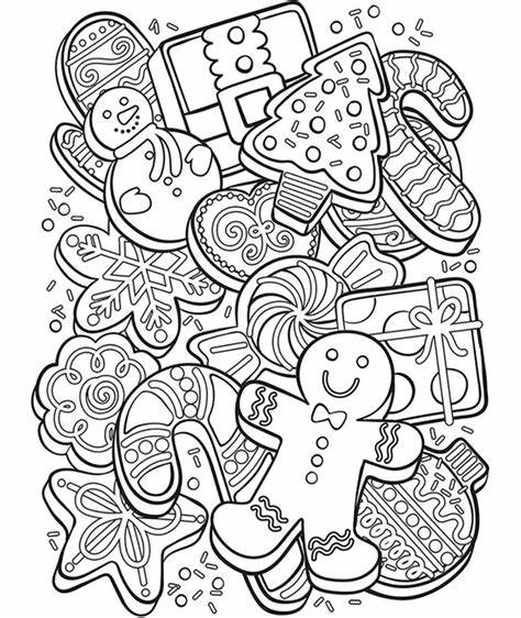 Dogs, cats, christmas trees, candy canes, a snowman and reindeer are just a few of the many coloring pictures and pages in this section. Christmas Cookie Collage Coloring Page | crayola.com