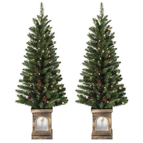 battery operated set of 2 pre lit 4ft 120cm frosted xmas