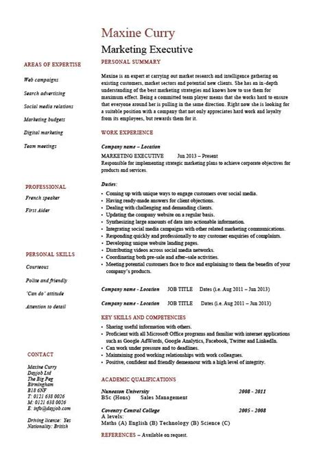 Marketing Executive Resume, Sales, Example, Sample