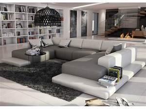 Canapé Panoramique 7 Places : canap panoramique 7 places en simili scosy bicolore blanc et gris ~ Teatrodelosmanantiales.com Idées de Décoration