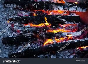Burning Wood And Coal In Fireplace. Closeup Of Hot Burning ...