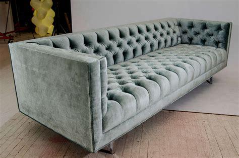Velvet Tufted Sofa by Modern Tufted Velvet Tuxedo Sofa For Sale At 1stdibs