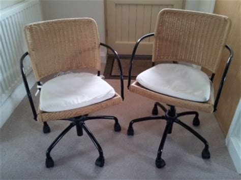two ikea wicker metal swivel office chairs fully