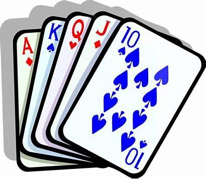 Poker Straight Clip Cards Clipart Hand Vegas