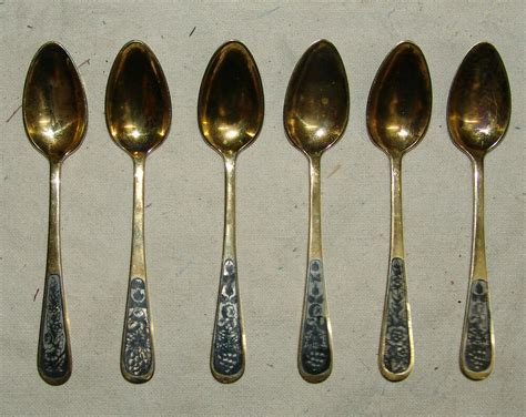 Beautiful Antique Set Of 6 Spoons Russian Flatware Silver