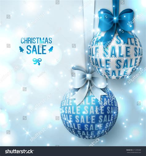 christmas sale blue christmas baubles on light