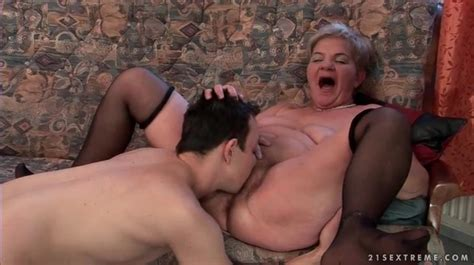 Young Man Passionately Eats Out Old Pussy Granny Porn