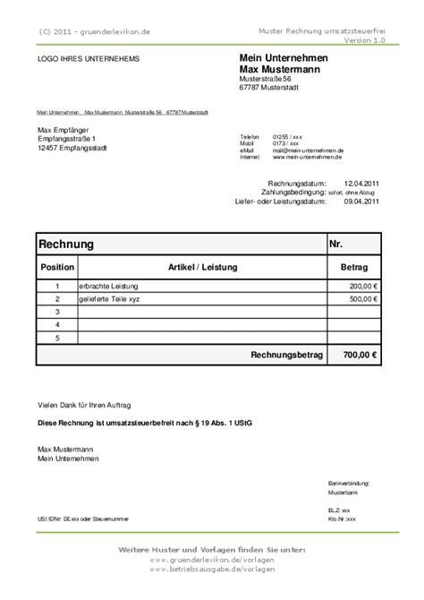 Auf Rechnung by 17 Wie Sieht Eine Rechnung 252 R Kleinunternehmer Aus