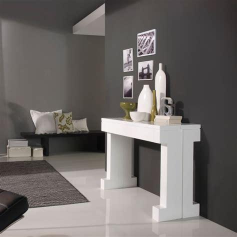 cadeau original cuisine table console extensible laquée blanc mobilier
